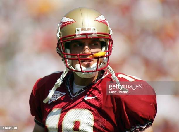 Quarterback Wyatt Sexton of the Florida State Seminoles drops back to pass during the game against North Carolina at Doak Campbell Stadium on October...