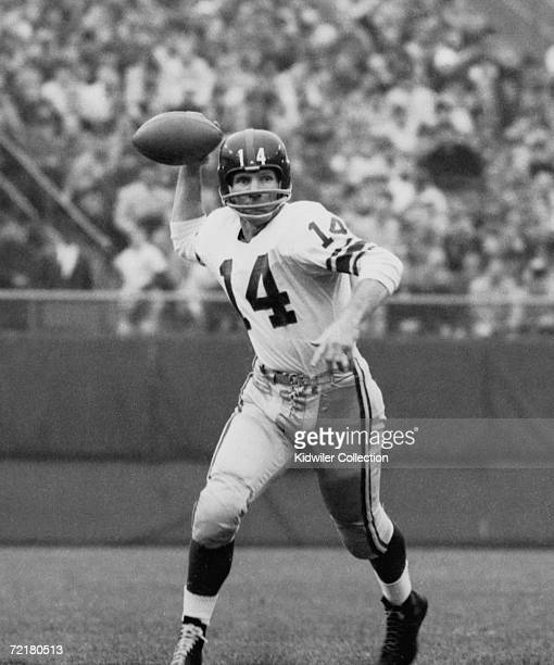 Quarterback YA Tittle of the New York Giants throws a pass during a game on September 15 1963 against the Baltimore Colts at Memorial Stadium in...