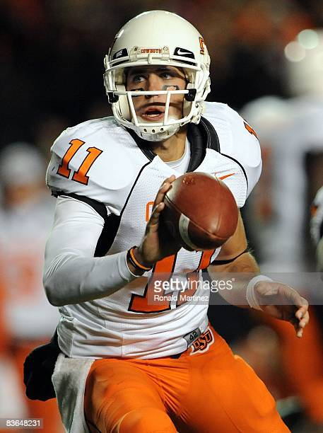 Quarterback Zac Robinson of the Oklahoma State Cowboys during play against the Texas Tech Red Raiders at Jones ATT Stadium on November 8 2008 in...
