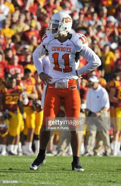 Quarterback Zac Robinson of the Oklahoma State Cowboys looks on during the game against the Iowa State Cyclones at Jack Trice Stadium on November 7...
