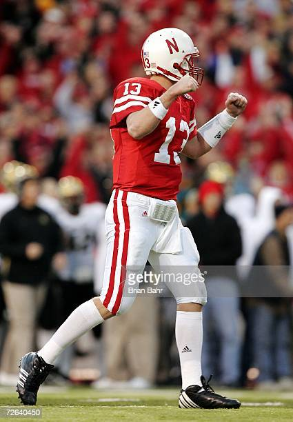 Quarterback Zac Taylor of the Nebraska Cornhuskers celebrates a touchdown against the Colorado Buffaloes on November 24 2006 at Memorial Stadium in...
