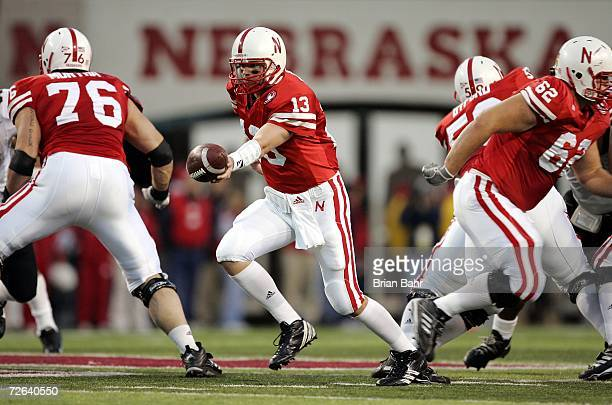 Quarterback Zac Taylor of the Nebraska Cornhuskers drops back for the handoff against the Colorado Buffaloes on November 24 2006 at Memorial Stadium...