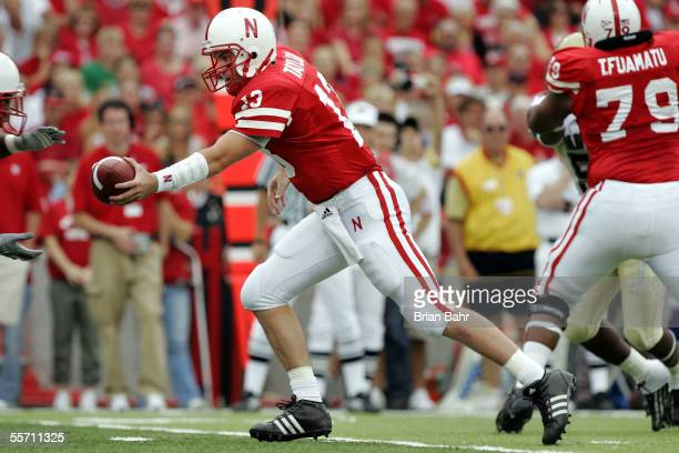 Quarterback Zac Taylor of the Nebraska Cornhuskers hands the ball off against the Pittsburgh Panthers in the first half on September 17 2005 at...
