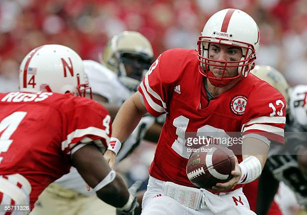 Quarterback Zac Taylor of the Nebraska Cornhuskers hands the ball off against the Pittsburgh Panthers on September 17 2005 at Memorial Stadium in...
