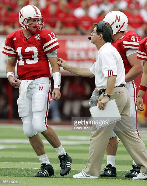Quarterback Zac Taylor of the Nebraska Cornhuskers heads back onto the field after discussing options with head coach Bill Callahan during a timeout...