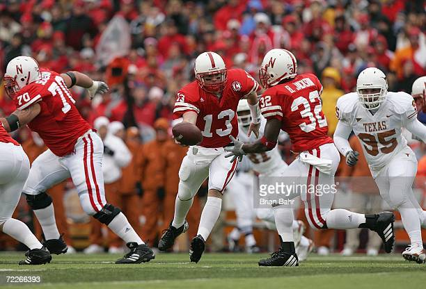 Quarterback Zac Taylor of the Nebraska Cornhuskers looks to hand the ball off to Brandon Jackson during the game against the Texas Longhorns on...