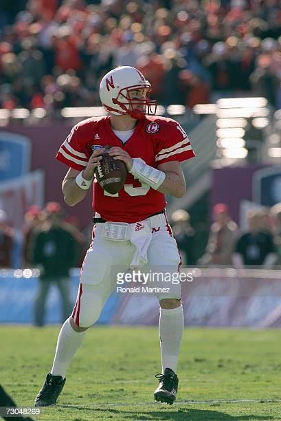 Quarterback Zac Taylor of the Nebraska Cornhuskers looks to pass downfield during the ATT Cotton Bowl Classic against the Auburn Tigers on January 1...