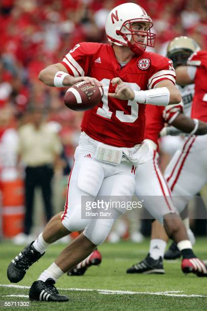 Quarterback Zac Taylor of the Nebraska Cornhuskers rolls out of the pocket as he waits to pass against the Pittsburgh Panthers in the second quarter...