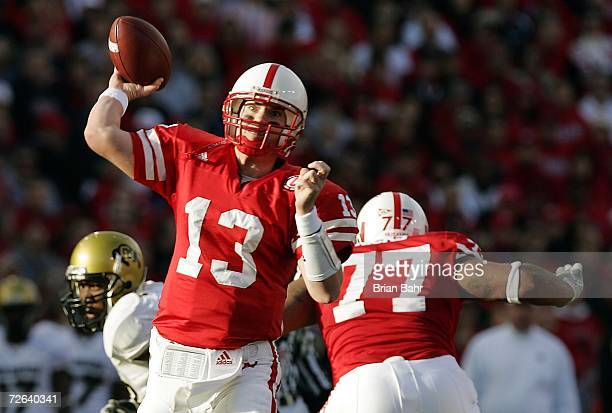 Quarterback Zac Taylor of the Nebraska Cornhuskers throws a touchdown to wide receiver Dusty Sprague in the first quarter on November 24 2006 at...