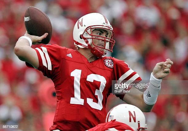 Quarterback Zac Taylor of the Nebraska Cornhuskers throws against the Pittsburgh Panthers on September 17 2005 at Memorial Stadium in Lincoln...