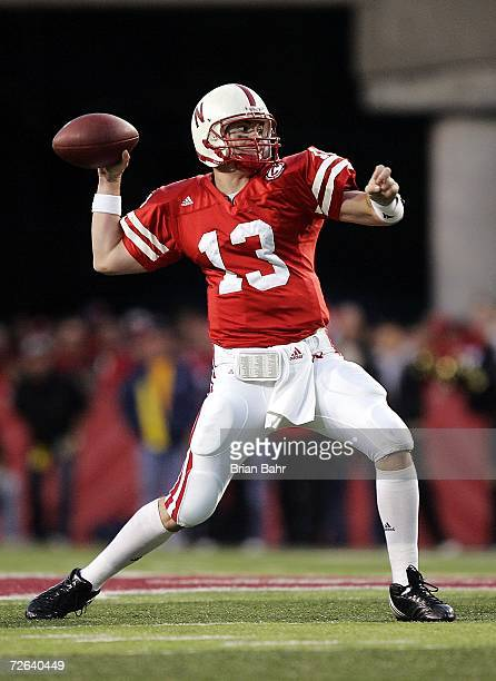 Quarterback Zac Taylor of the Nebraska Cornhuskers throws against the Colorado Buffaloes in the third quarter on November 24 2006 at Memorial Stadium...