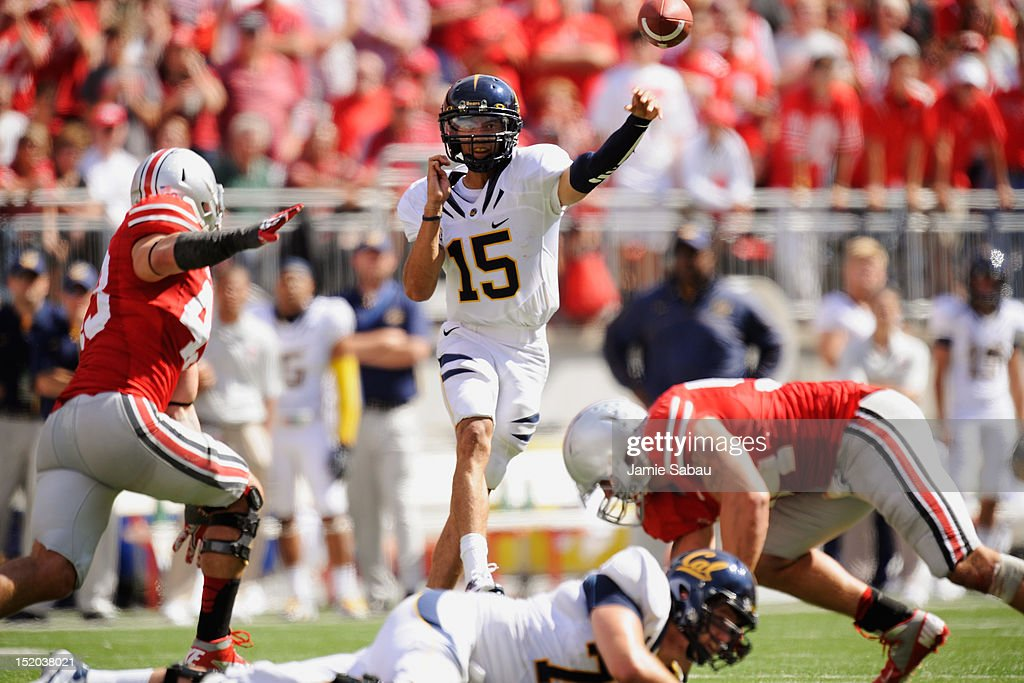 Quarterback Zach Maynard #15 of the California Golden Bears completes a pass in the second half against the Ohio State Buckeyes at Ohio Stadium on September 15, 2012 in Columbus, Ohio.