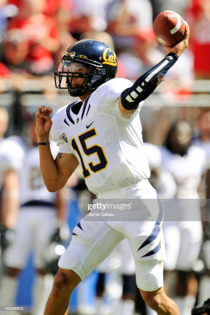 Quarterback Zach Maynard #15 of the California Golden Bears throws against the Ohio State Buckeyes at Ohio Stadium on September 15, 2012 in Columbus, Ohio.