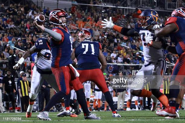 Quarterback Zach Mettenberger of the Memphis Express looks to pass against the Orlando Apollos during the third quarter of the Alliance of American...