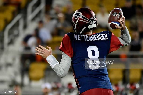 Quarterback Zach Mettenberger of the Memphis Express throws a pass against the Orlando Apollos during the third quarter of the Alliance of American...