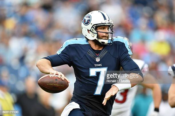 Quarterback Zach Mettenberger of the Tennessee Titans looks for a receiver during a NFL game against the Houston Texans at Nissan Stadium on December...