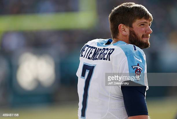 Quarterback Zach Mettenberger of the Tennessee Titans looks on from the sidelines during the first quarter against the Philadelphia Eagles at Lincoln...