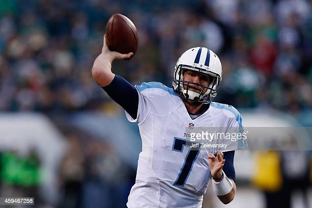 Quarterback Zach Mettenberger of the Tennessee Titans throws a pass during the second half of the game against the Philadelphia Eagles at Lincoln...