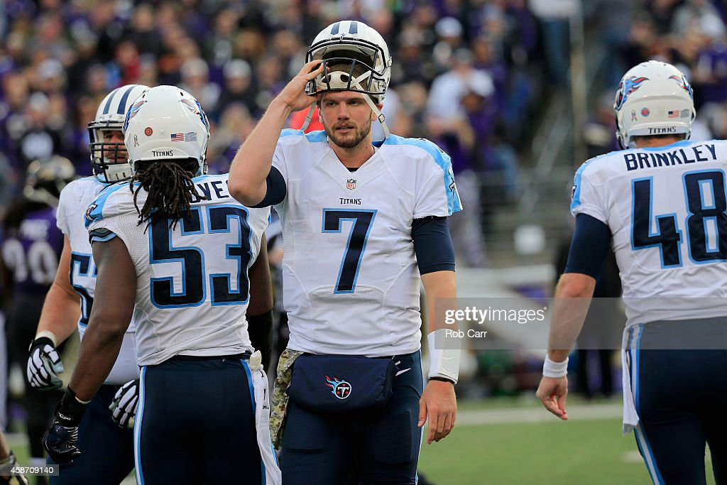 Quarterback Zach Mettenberger #7 of the Tennessee Titans walks off the field after getting sacked by the Baltimore Ravens during the second half at M&T Bank Stadium on November 9, 2014 in Baltimore, Maryland.