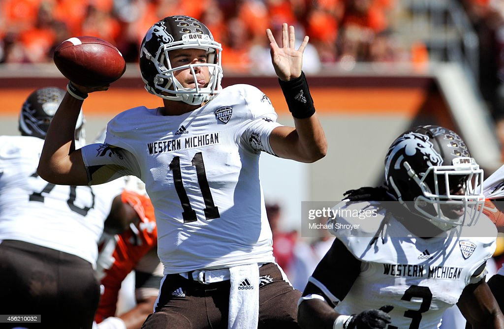 Quarterback Zach Terrell #11 of the Western Michigan Broncos throws a pass against Virginia Tech Hokies in the second half at Lane Stadium on September 27, 2014 in Blacksburg, Virginia. Virginia Tech defeated Western Michigan 35-17.