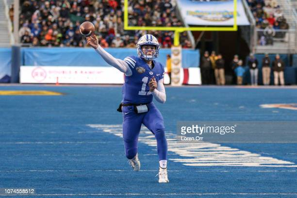 Quarterback Zach Wilson of the BYU Cougars throws a pass during second half action against the Western Michigan Broncos at the Famous Idaho Potato...