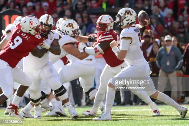 Quarterback Zack Annexstad of the Minnesota Golden Gophers passes against the Nebraska Cornhuskers in the first half at Memorial Stadium on October...
