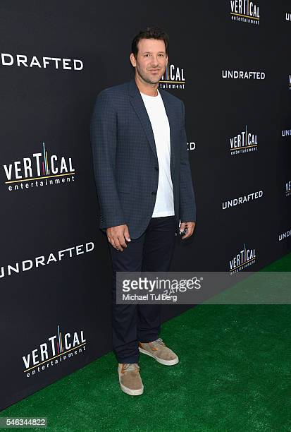 NFL quarterback/Executive Producer Tony Romo attends the premiere of Vertical Entertainment's Undrafted at ArcLight Hollywood on July 11 2016 in...