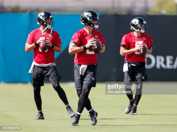 Quarterbacks Blake Bortles Tanner Lee and Cody Kessler of the Jacksonville Jaguars works out during Training Camp at Dream Finders Homes Practice...