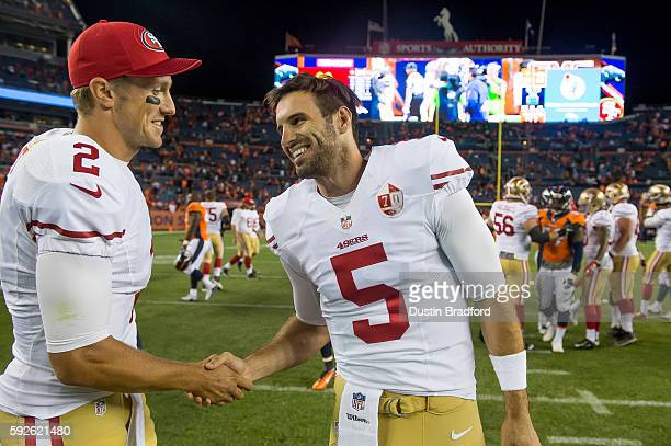 Quarterbacks Christian Ponder and Blaine Gabbert of the San Francisco 49ers celebrate and shake hands after a 3124 win over the Denver Broncos a...