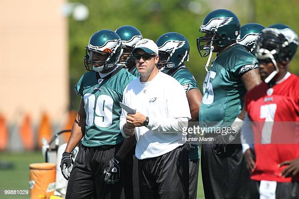 Quarterbacks coach Doug Pederson of the Philadelphia Eagles participates in drills during minicamp practice on April 30 2010 at the NovaCare Complex...