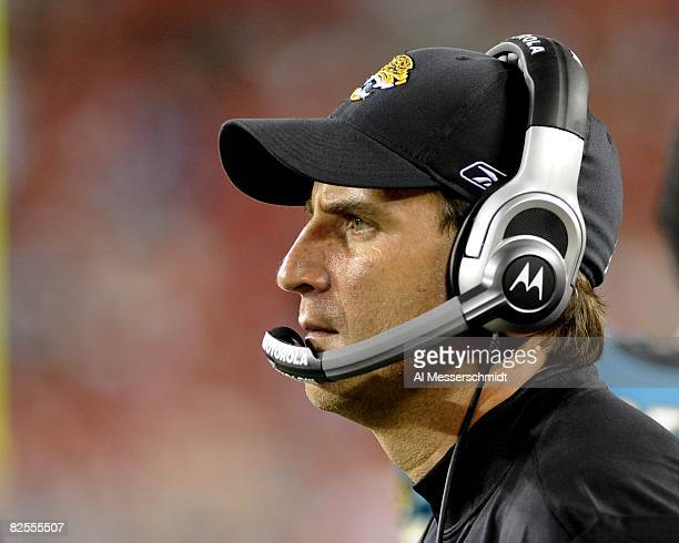 Quarterbacks coach Mike Shula of the Jacksonville Jaguars watches play against the Tampa Bay Buccaneers at Raymond James Stadium on August 23 2008 in...