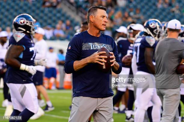 Quarterbacks coach Pat O'Hara of the Tennessee Titans looks on before a preseason game against the Philadelphia Eagles at Lincoln Financial Field on...