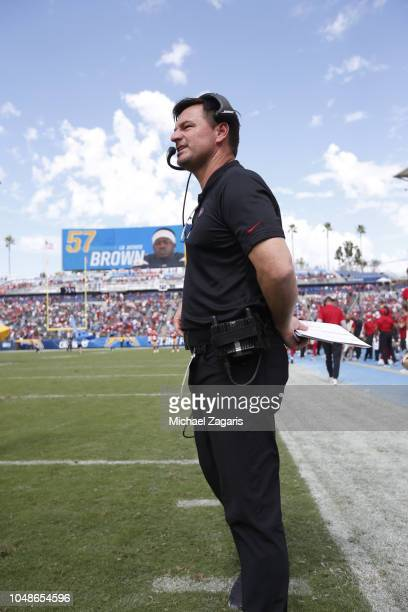 Quarterbacks Coach Rich Scangarello of the San Francisco 49ers stands on the sideline prior to the game against the Los Angeles Chargers at StubHub...