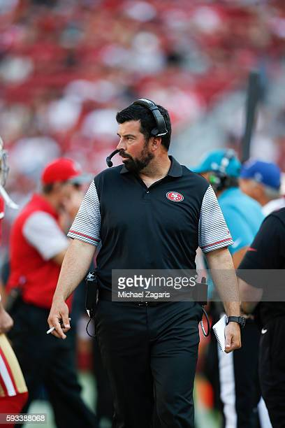 Quarterbacks Coach Ryan Day of the San Francisco 49ers stands on the sideline during the game against the Houston Texans at Levi Stadium on August 14...