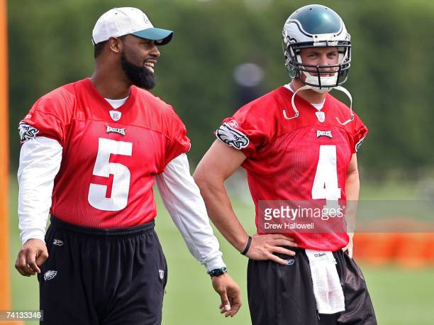 Quarterback's Donovan McNabb and Kevin Kolb of the Philadelphia Eagles have a laugh during minicamp on May 12 2007 at the NovaCare Complex in...