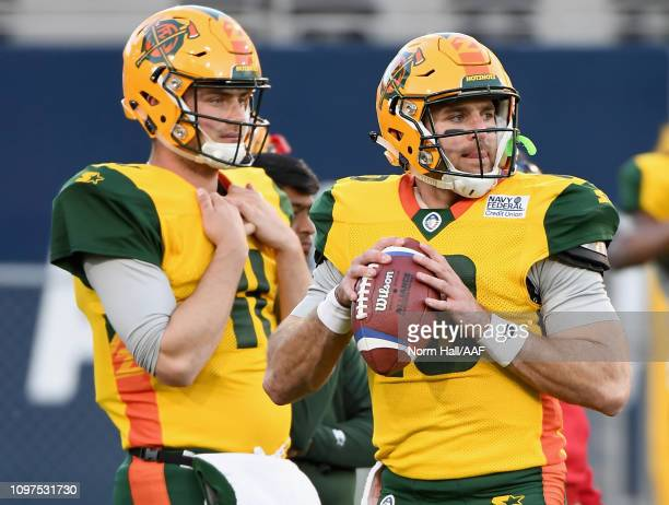 Quarterbacks Jack Heneghan and Trevor Knight of the Arizona Hotshots warm up before playing in the Alliance of American Football game against the...