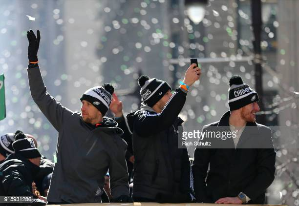 Quarterbacks Nick Foles Nate Sudfeld and Carson Wentz of the Philadelphia Eagles during their Super Bowl Victory Parade on February 8 2018 in...