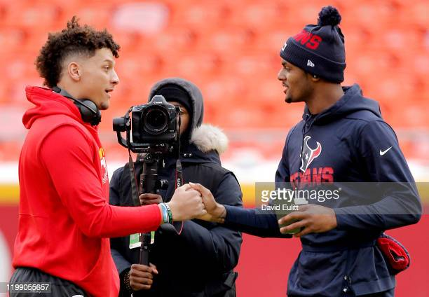 Quarterbacks Patrick Mahomes of the Kansas City Chiefs and Deshaun Watson of the Houston Texans shake hands prior to the AFC Divisional playoff game...
