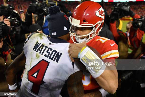 Quarterbacks Patrick Mahomes of the Kansas City Chiefs and Deshaun Watson of the Houston Texans embrace after Chiefs win the AFC Divisional playoff...