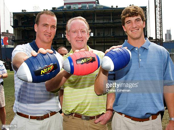 Quarterbacks Peyton Manning Archie Manning and Eli Manning attend the NERF Father's Day Football Throwdown on June 14 2008 at the Pier 59 Golf Club...