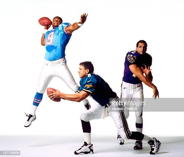 Quarterbacks Steve McNair Mark Brunell and Vinny Testaverde are photographed for Sports Illustrated on July 3 1997 in New York City CREDIT MUST READ...