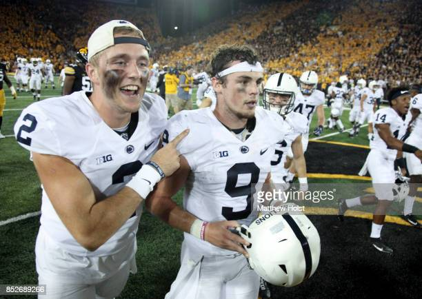 Quarterbacks Tommy Stevens and Trace McSorley of the Penn State Nittany Lions celebrate after defeating the Iowa Hawkeyes on September 23 2017 at...