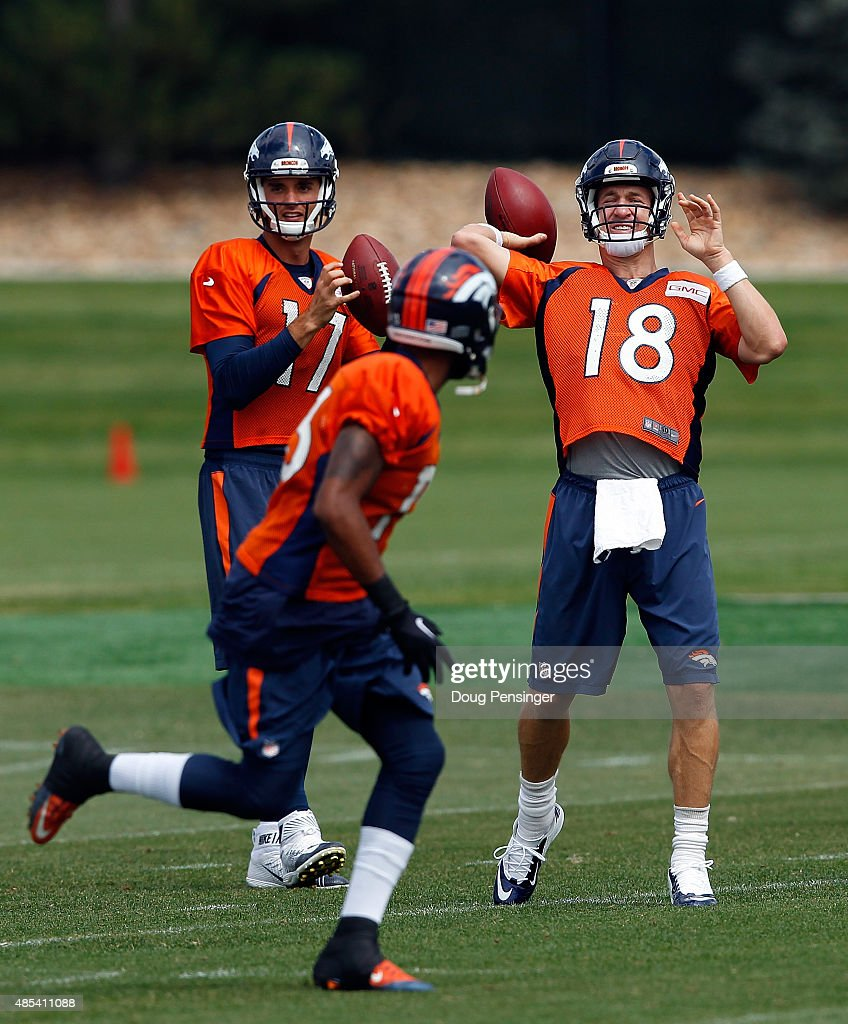 Quarterbacl Petyon Manning delivers a pass during a joint training session with the San Francisco 49ers and the Denver Broncos at the Denver Broncos Training Facility on August 27, 2015 in Englewood, Colorado.