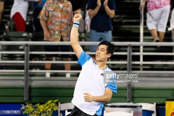 Quarterfinals match winner Mackenzie McDonald of USA celebrates after his upset win against Juan Martin Del Potro of Argentina at the Delray Beach...