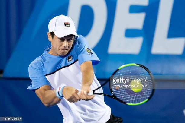 Quarterfinals match winner Mackenzie McDonald of USA in action against Juan Martin Del Potro of Argentina at the Delray Beach Open held at the Delray...