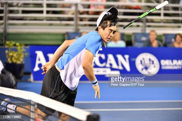 Quarterfinals match winner Mackenzie McDonald of USA throws his racquet in excitement after his upset win against Juan Martin Del Potro of Argentina...