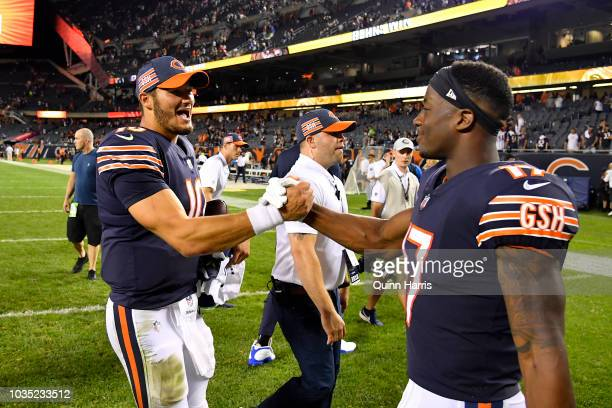 Quartertback Mitchell Trubisky and Anthony Miller of the Chicago Bears celebrate after defeating the Seattle Seahawks 2417 at Soldier Field on...