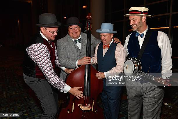 Quartet Singers Brad Hine Mark Shlinkert Jared Carlson and David Calland of Boardwalk attend a CD release party after the Youth Barbershop Quartet...