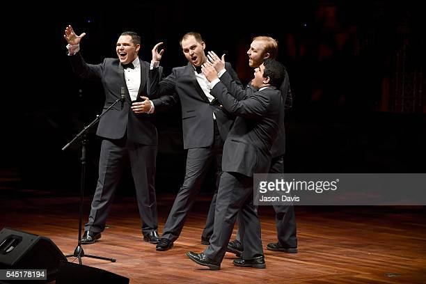 Quartet Singers Oscar Sotelo Daniel Huitt Cody Littlefield and Kyle Williamson of Flightline perform onstage during the Youth Barbershop Quartet...