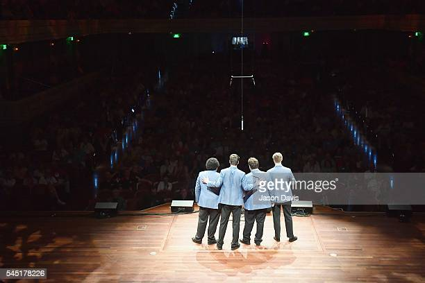 Quartet Singers Patrick McAlexander Ryan Modrall Kevin Mendez and Robby Black of Ohana Means Family perform onstage during the Youth Barbershop...